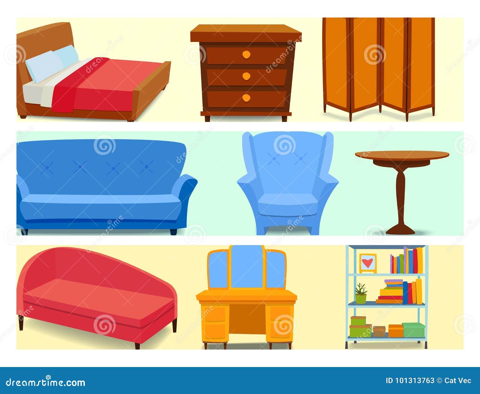 Returnerar inre symboler för möblemang för vardagsrumhuset för designen illustrationen för vektorn för soffan för lägenheten för