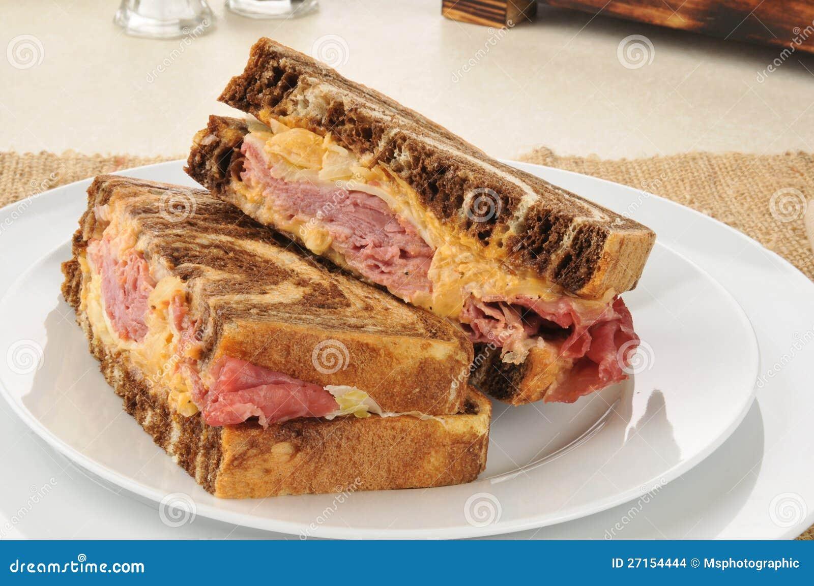 Reuben Sandwich On Marbled Rye Bread Stock Images - Image: 27154444