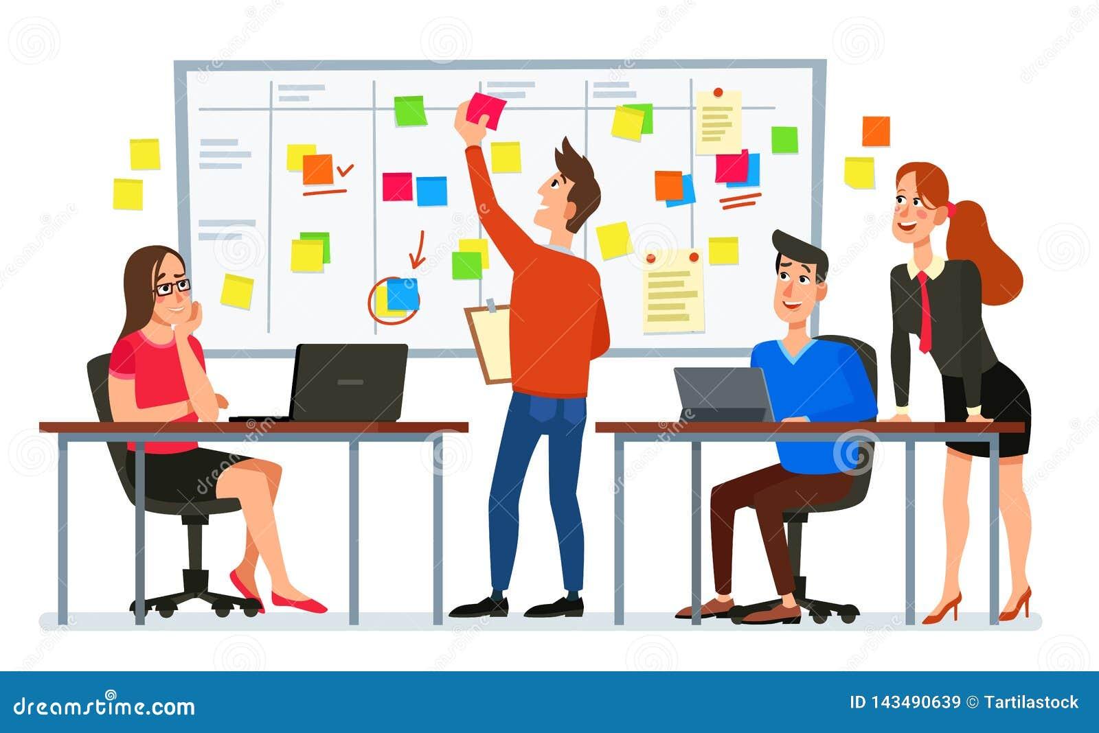 Reunião da direção do scrum Tarefas da equipe do negócio, conferência dos trabalhadores de escritório e vetor planejando dos dese