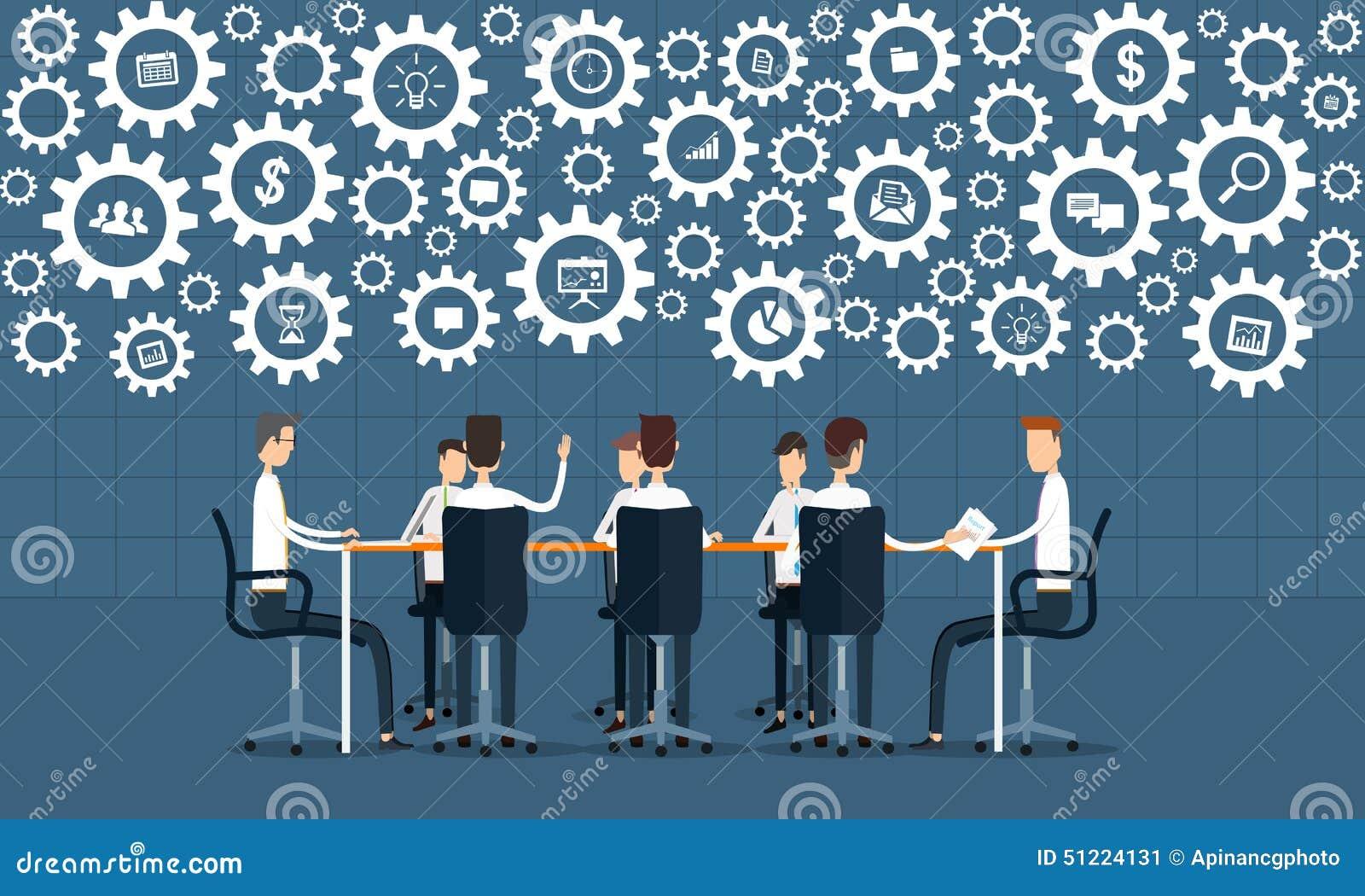 Reunião dos trabalhos de equipa do processo de negócios e conceito do clique