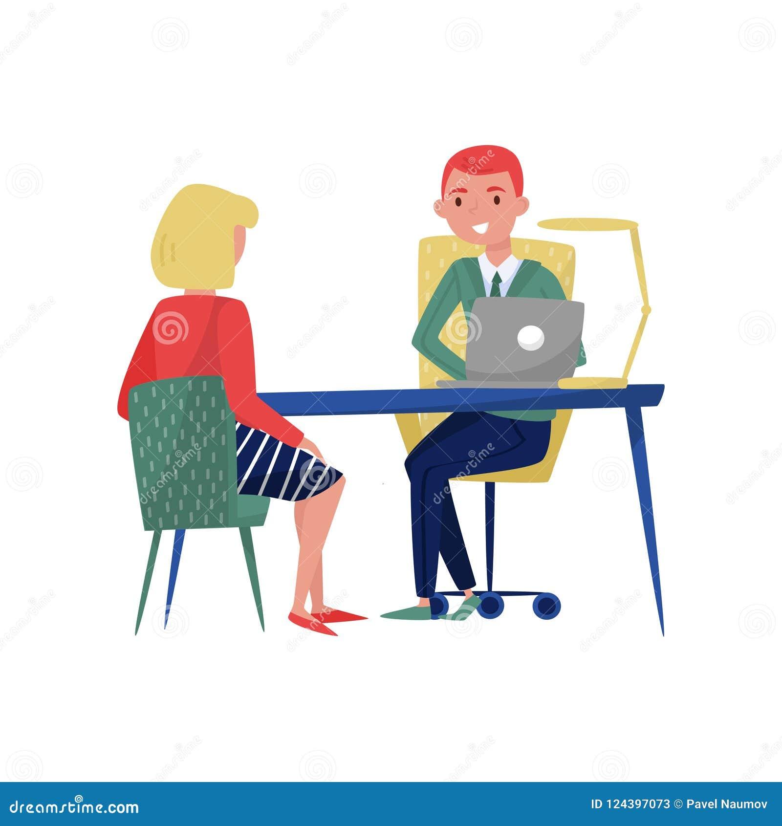 Reunião fêmea nova do candidato e do chefe do empregado em seus escritório, pessoas à procura de emprego e empregador sentando-se
