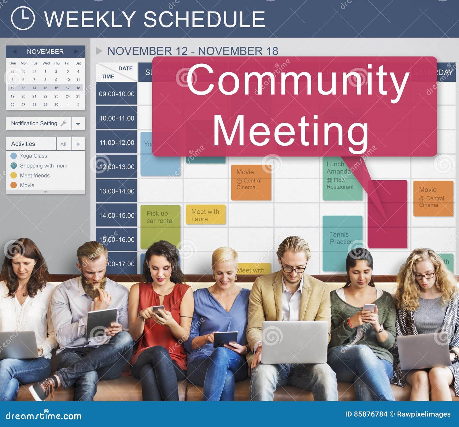 Reunión de la comunidad que recolecta la conferencia de la cooperación del planeamiento concentrada