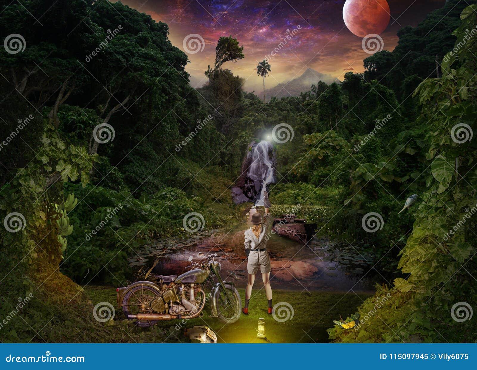 Reunión de la noche de viajeros en la selva tropical