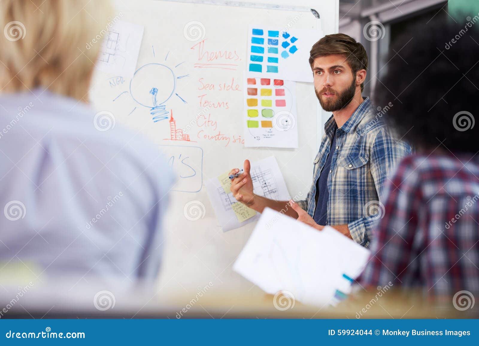 Reunión de Leading Creative Brainstorming del encargado en oficina