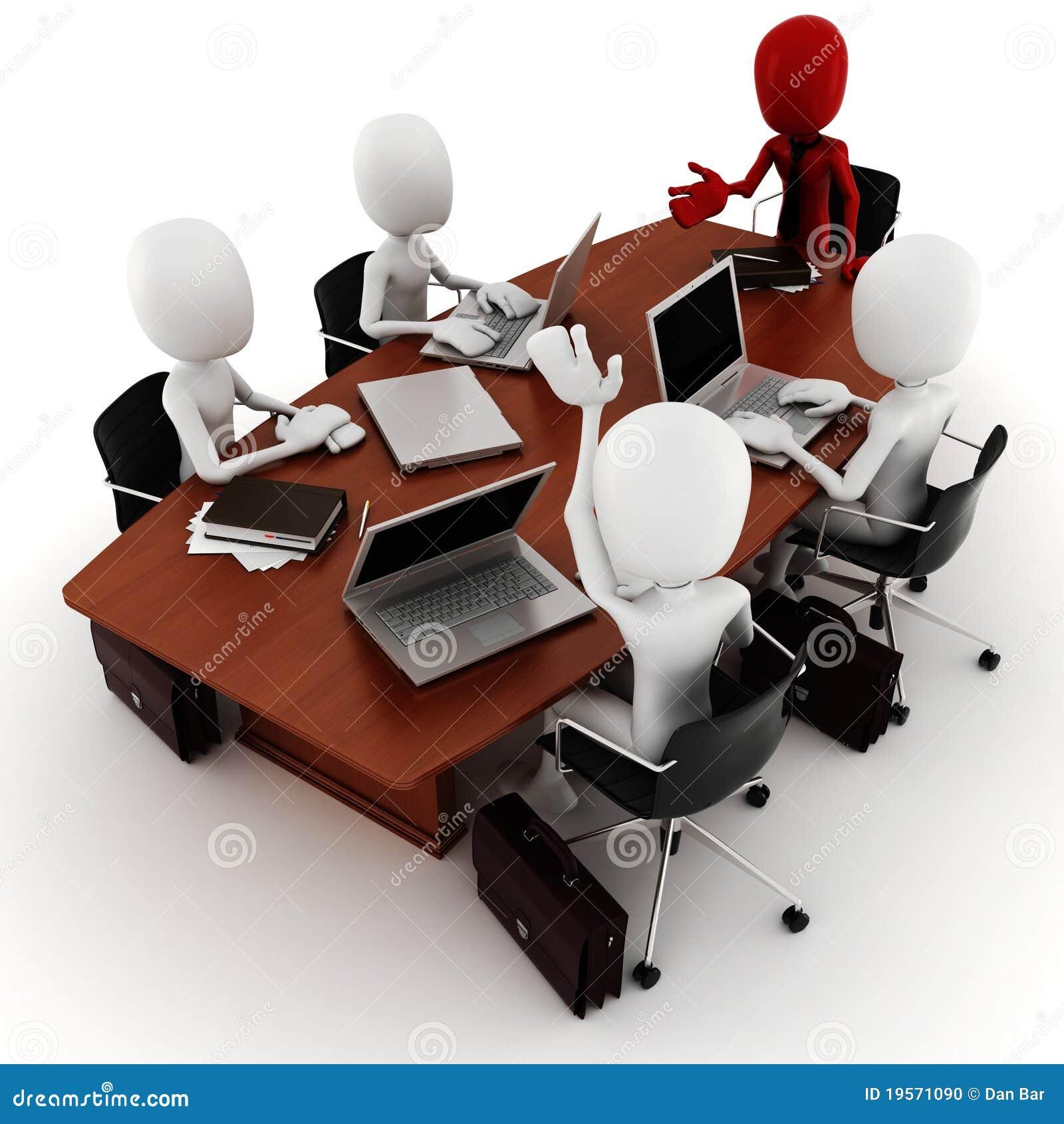 Reunión de negocios del hombre 3d - sobre blanco