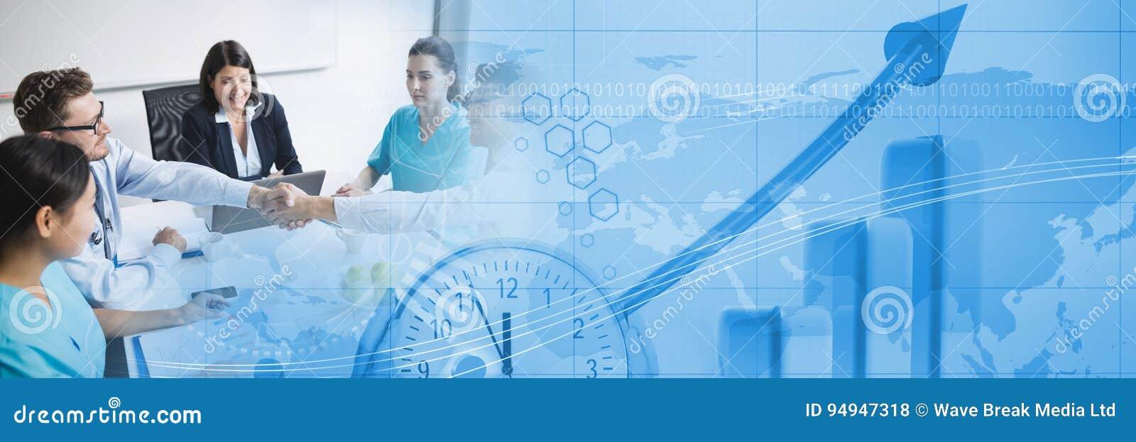 Reunión de negocios médica con la transición azul del gráfico de las finanzas
