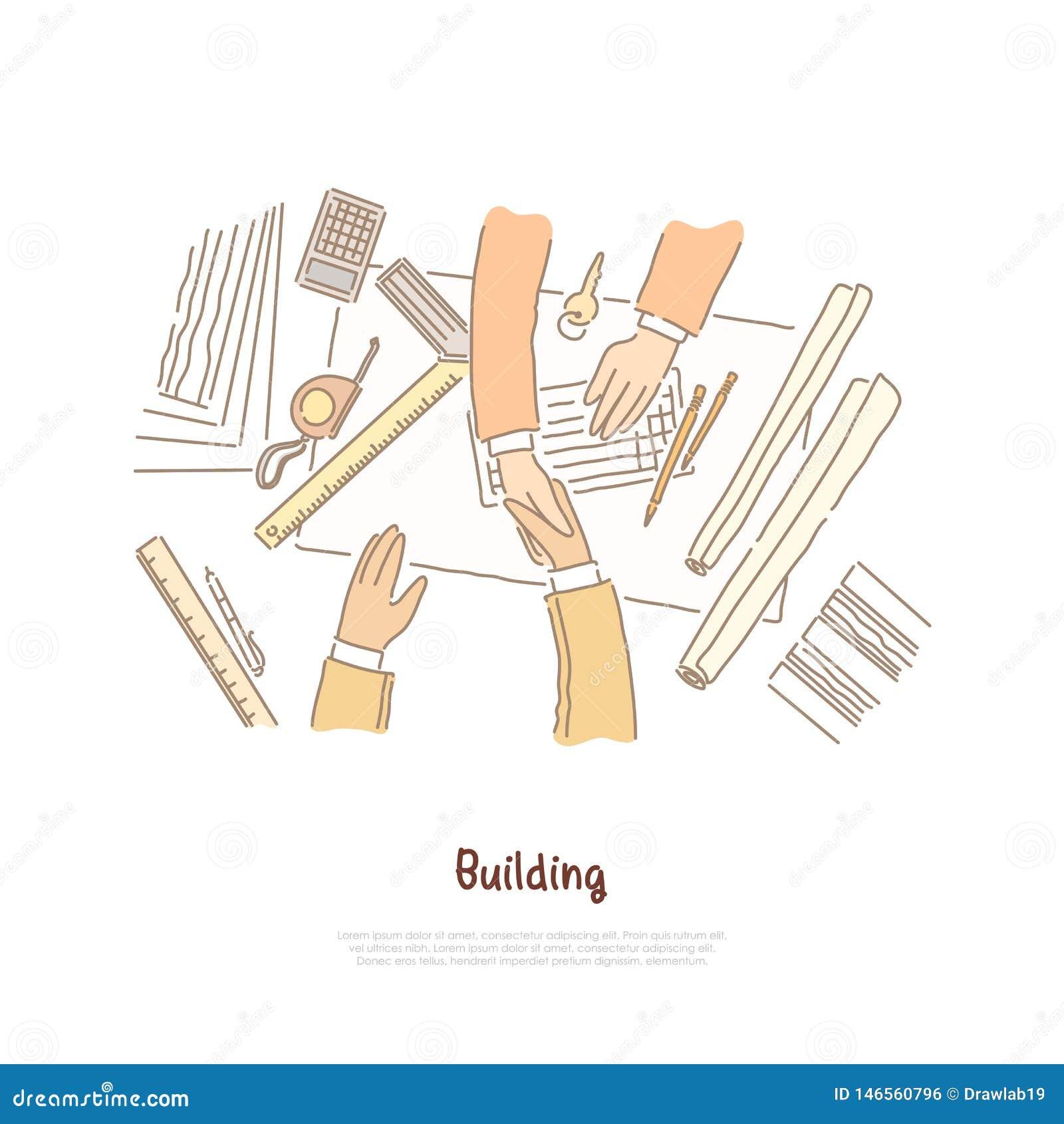 Reunión de negocios, negociación, trato del diseño del plan del edificio, del arquitecto y del contratista, bandera del trabajo e