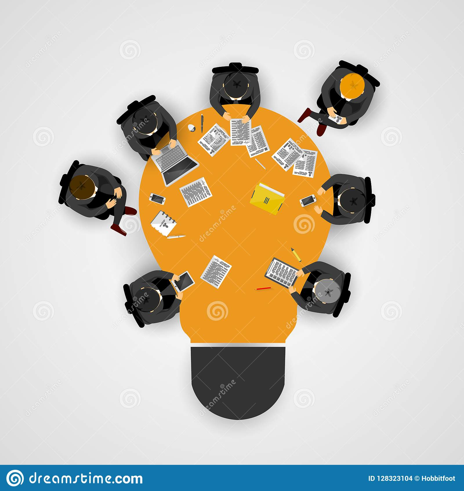 Reunión de negocios y reunión de reflexión Idea y concepto del negocio para el trabajo en equipo Plantilla de Infographic con la
