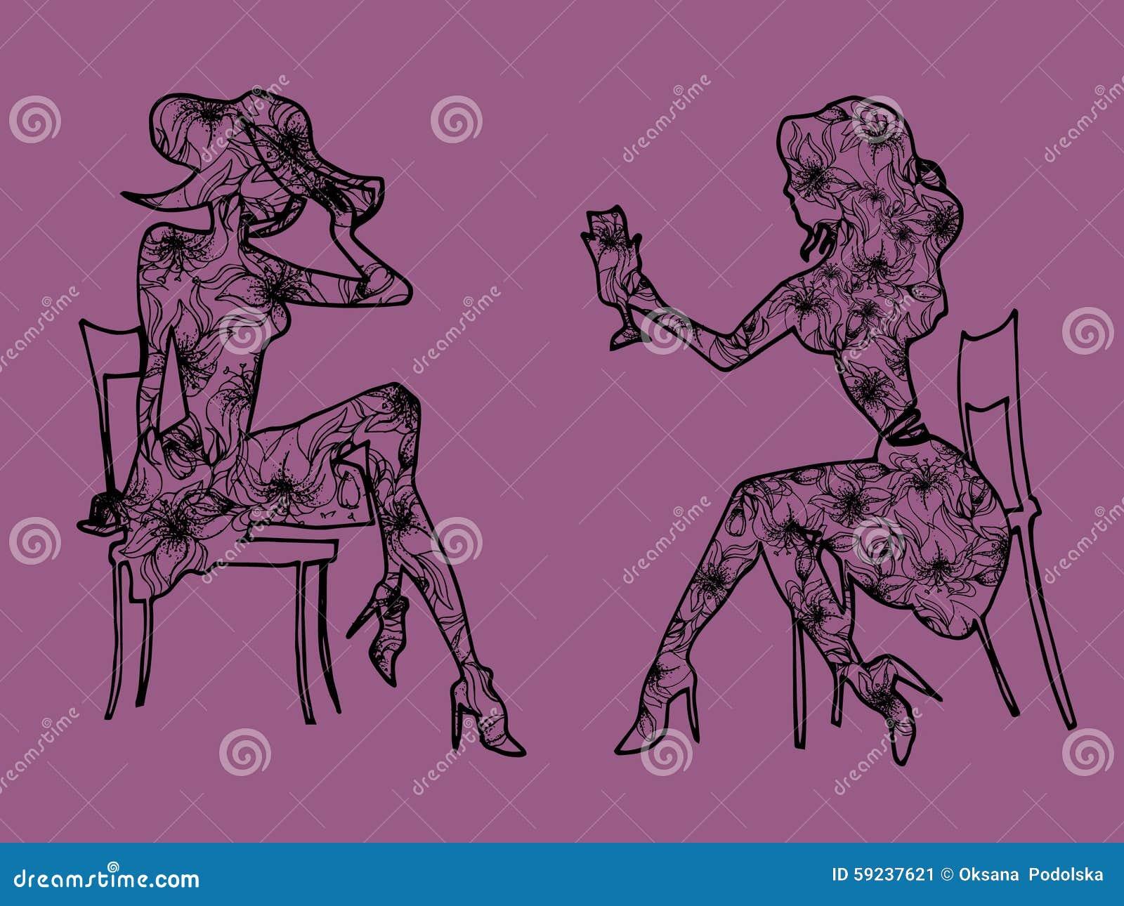 Download Reunión Del Ejemplo Una Conversación Entre Dos Muchachas Ilustración del Vector - Ilustración de concepto, cara: 59237621