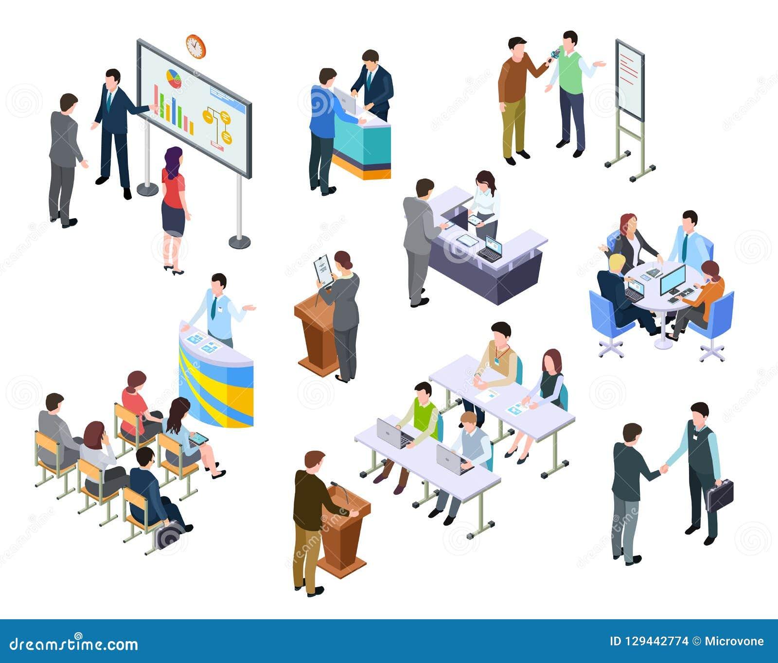 Reunión isométrica Hombres de negocios en conferencia de la presentación Proceso del trabajo del equipo en la tabla entrenamiento
