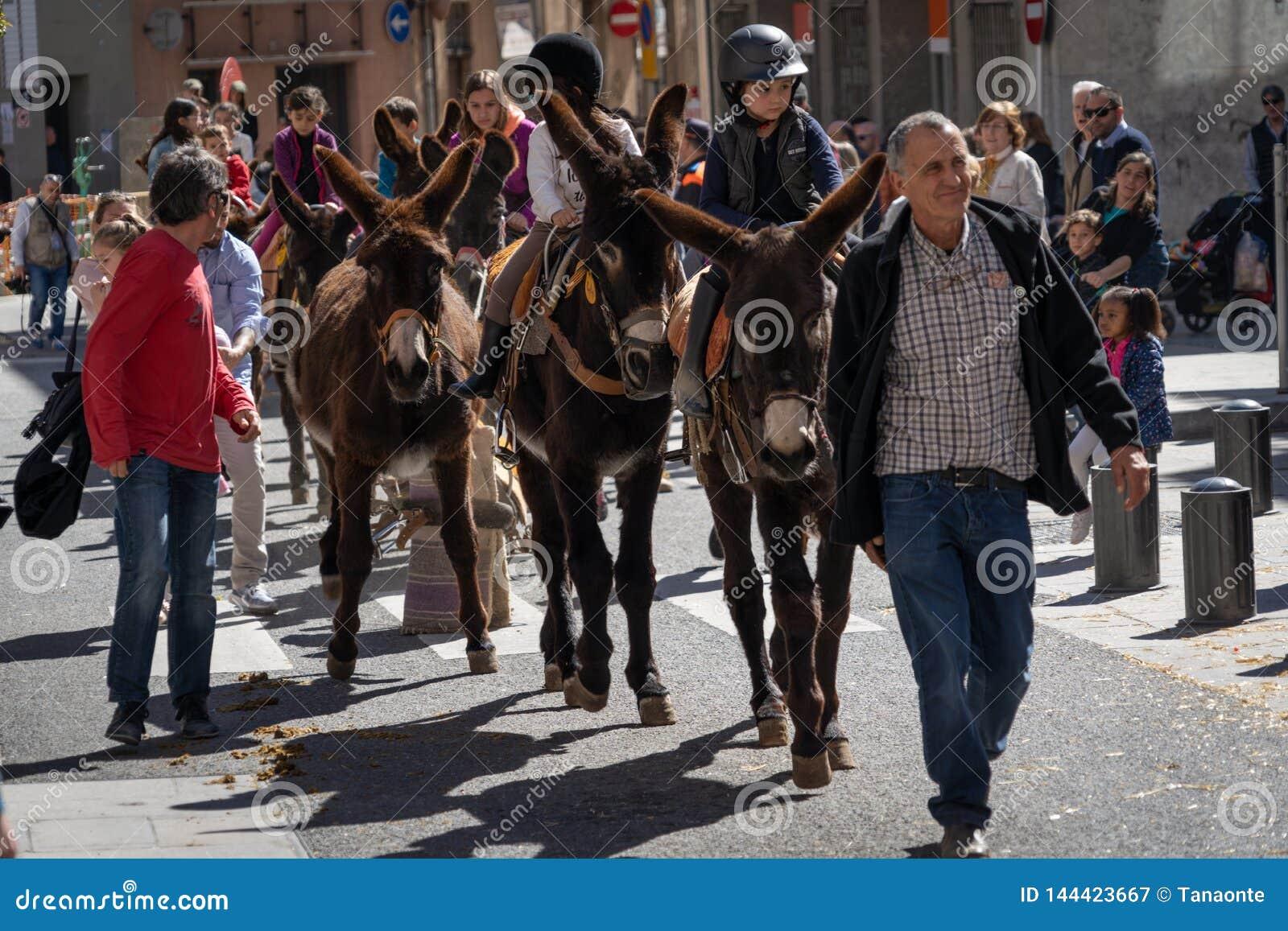 Reus, Espa?a En marzo de 2019: Niños que montan burros y mulas alrededor del centro de ciudad en la cabalgata del festival de las