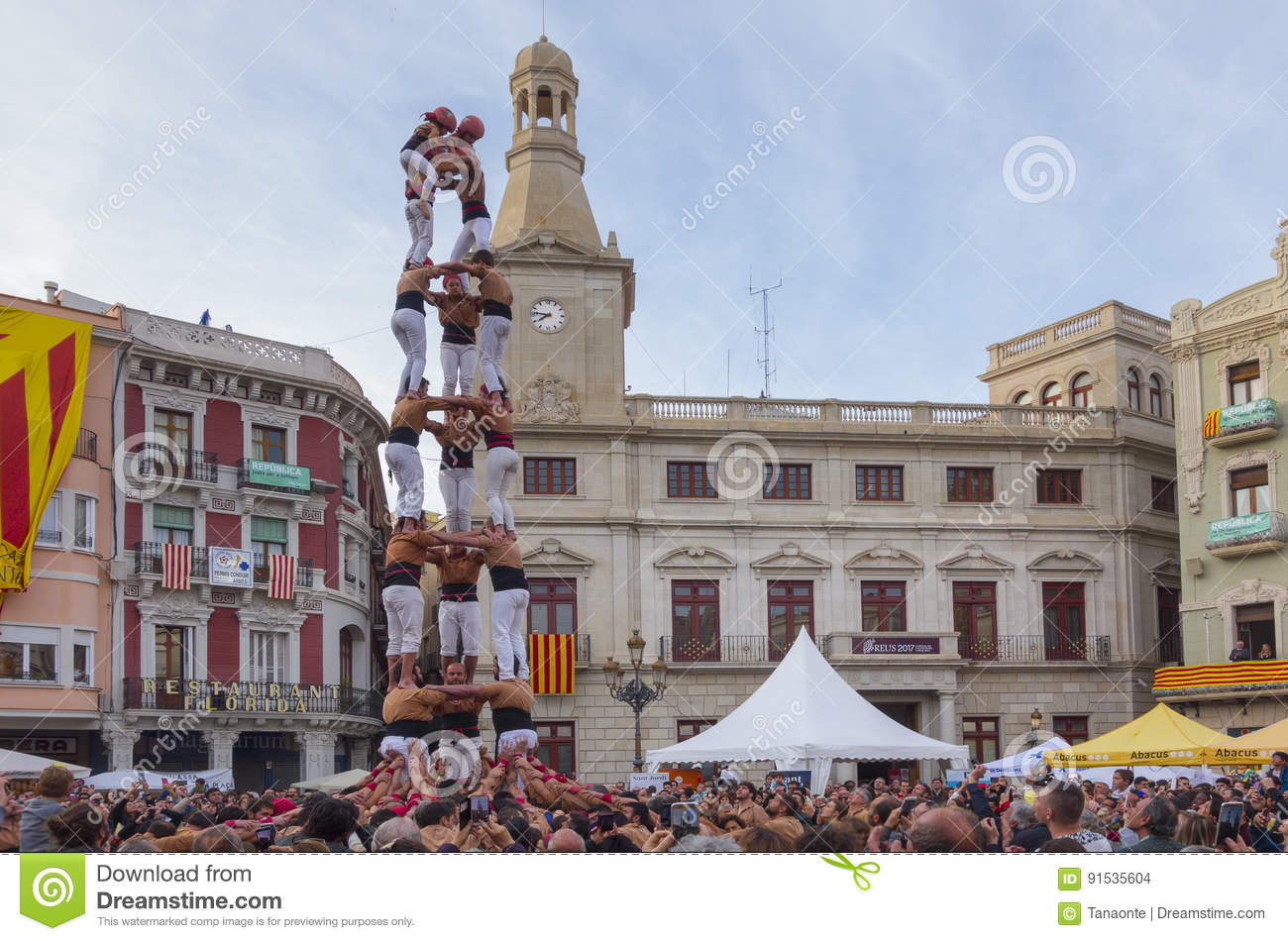 REUS, SPAIN - APRIL 23, 2017: Castells Performance.