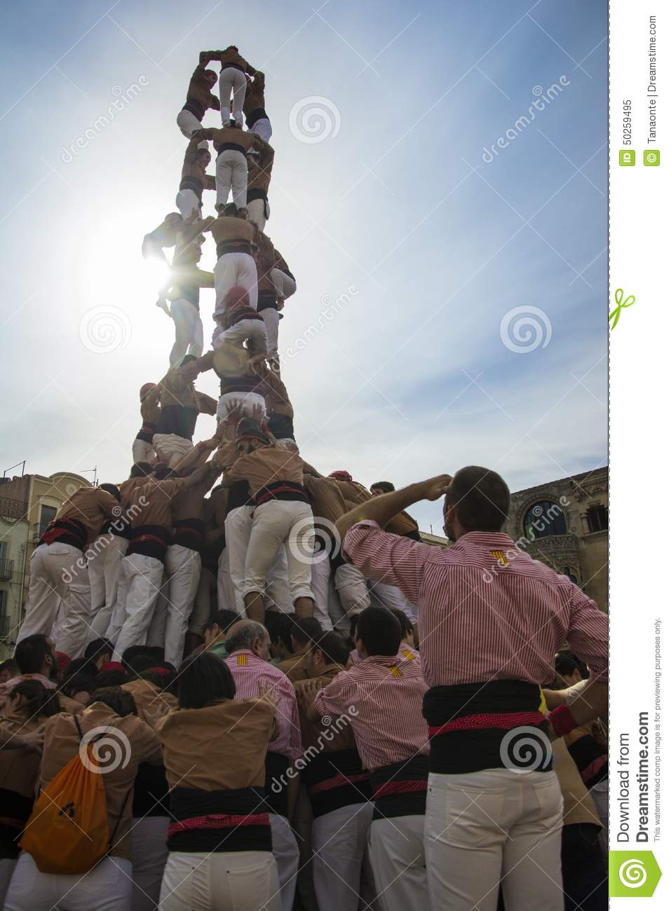 REUS, SPAIN - OCTOBER 25, 2014: Castells Performance, a castell is a human tower built traditionally in festivals within Catalonia