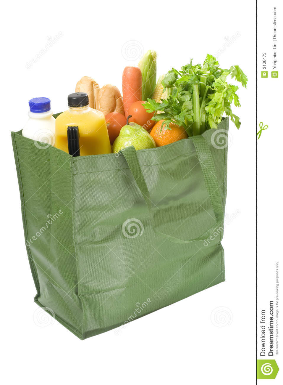 Reusable bag full of groceries