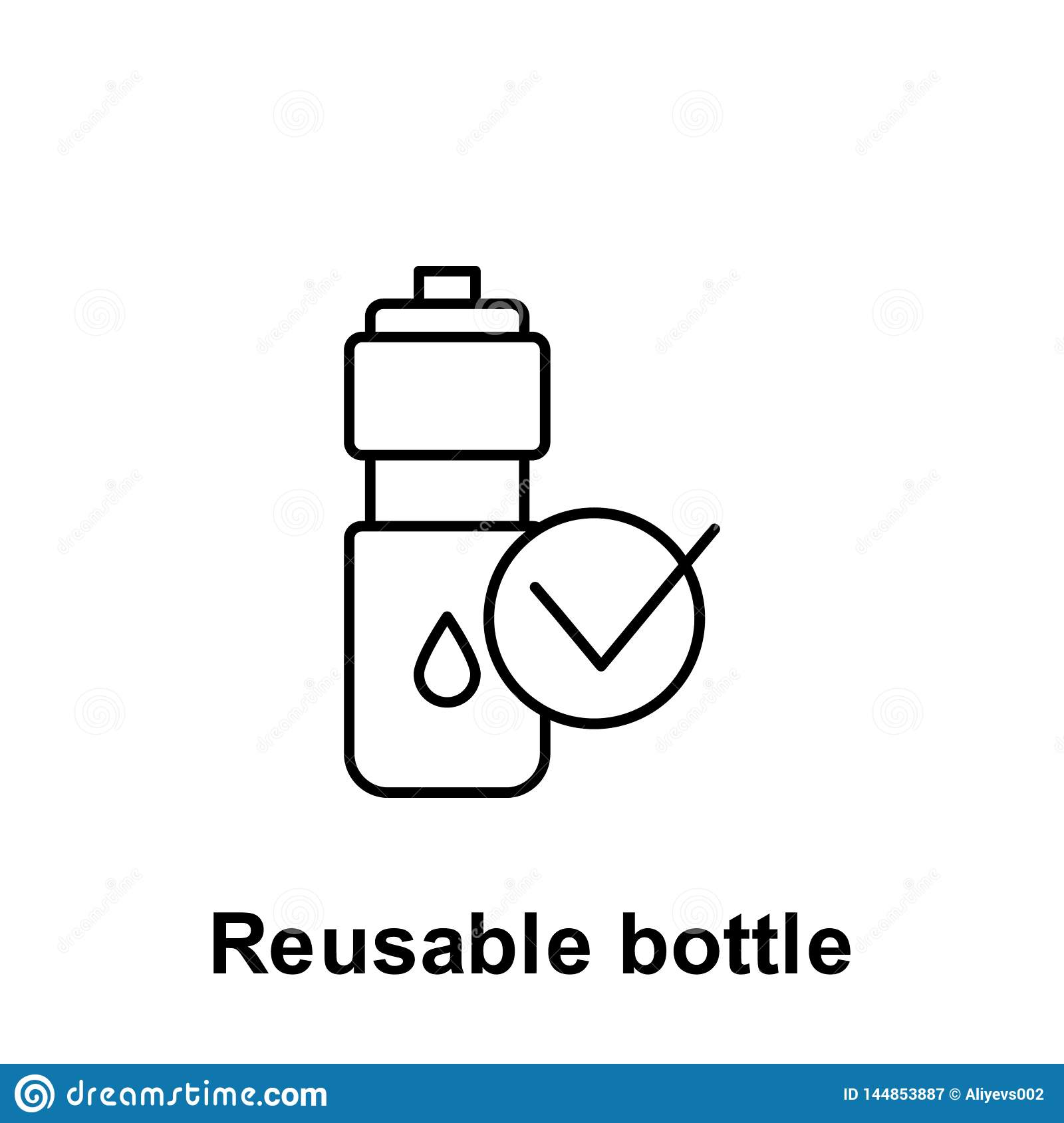 Reusable Bottle Icon  Element Of Pollution Problems Icon  Thin Line