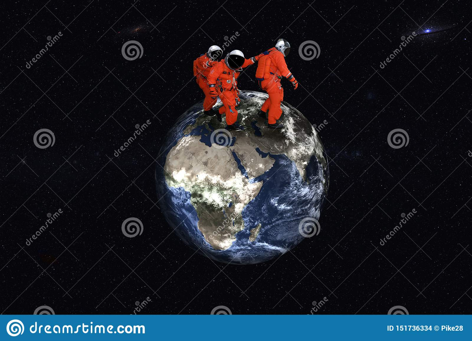 Reuze lopende astronauten op de Aardeplaneet