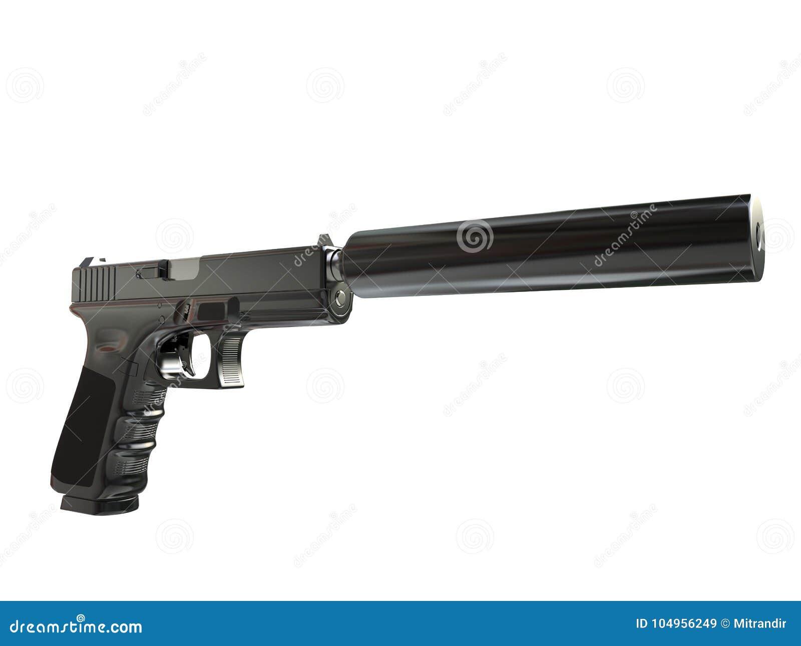 Revólver tático moderno semiautomático com silenciador