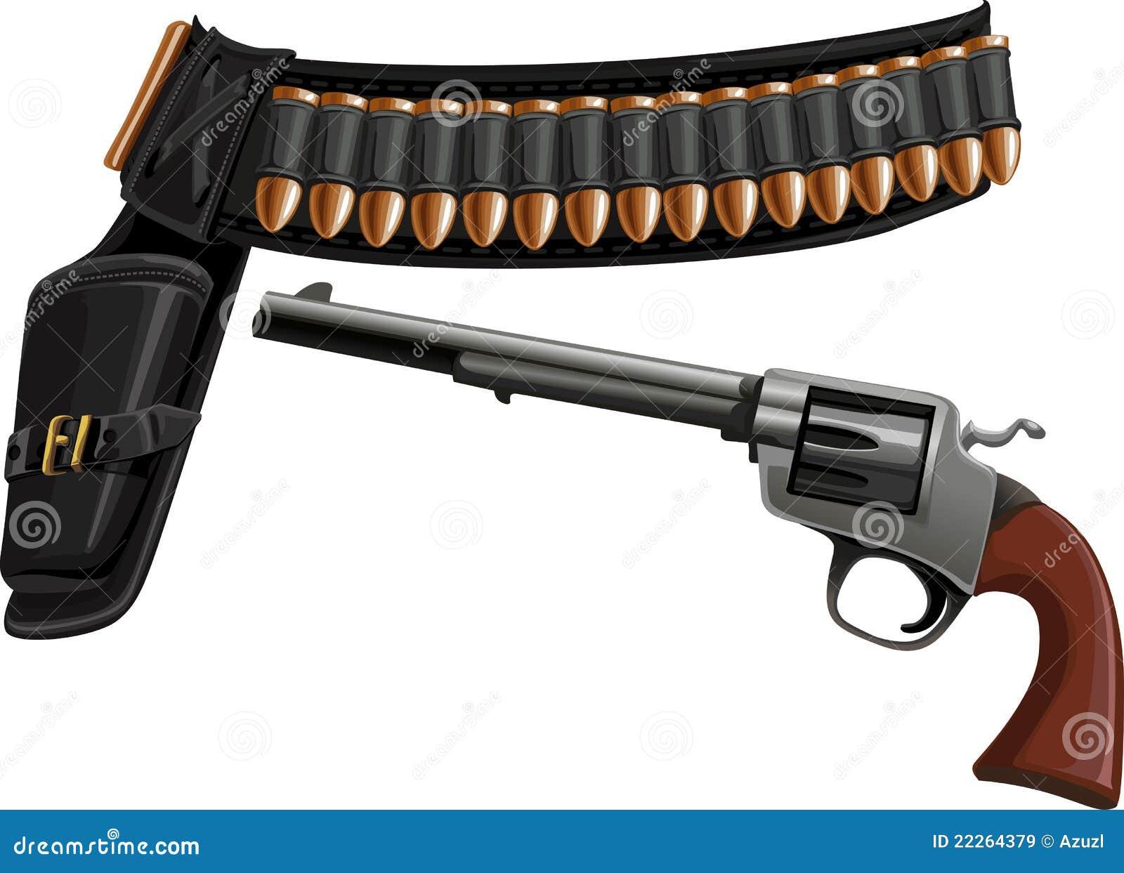 Revólver, um holster da correia e munição