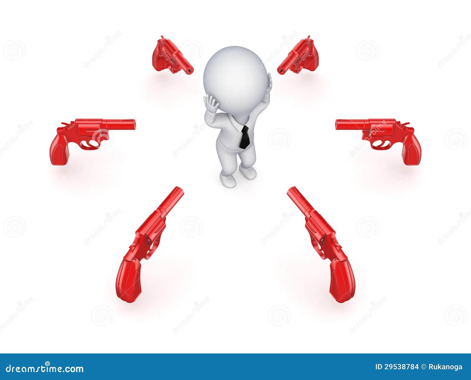 Revólveres alrededor de la pequeña persona 3d.