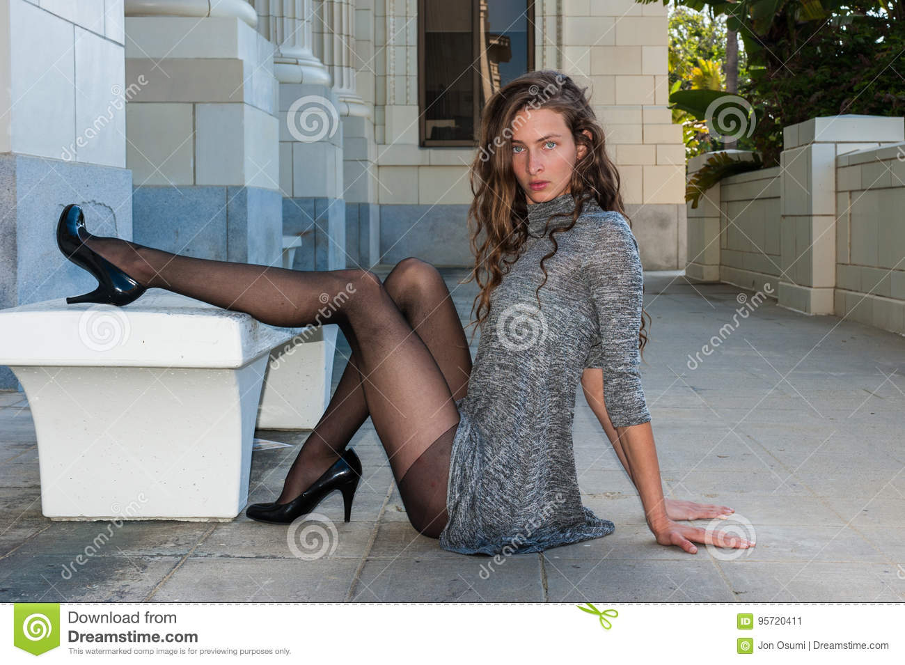 Brunette Pumps Revealing Long Legs Stock Image Image Of
