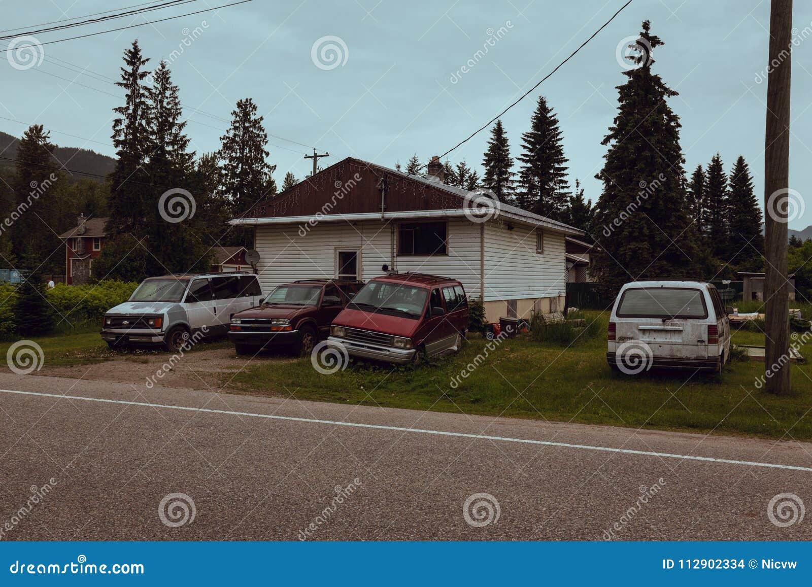 Revelstoke, bBritish哥伦比亚,加拿大- 2017年6月:恶劣的房子a