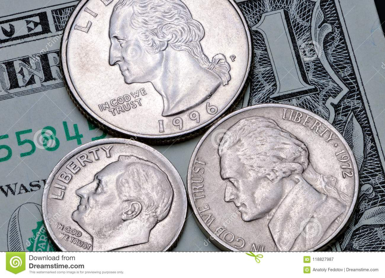 Us Coins Of A Quarter Dollar One Dime And Five Cents On A One Dollar Bill Reverse Of The Coin  Us Cents On A Banknote 1 Us Dollar