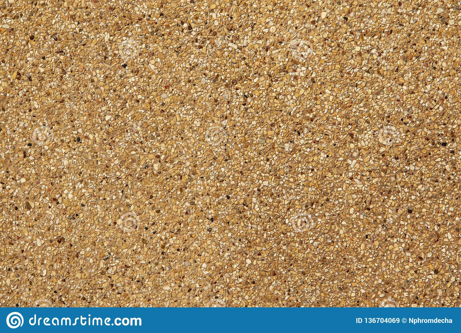 Revestimento agregado exposto Areia lavada Textura e fundo