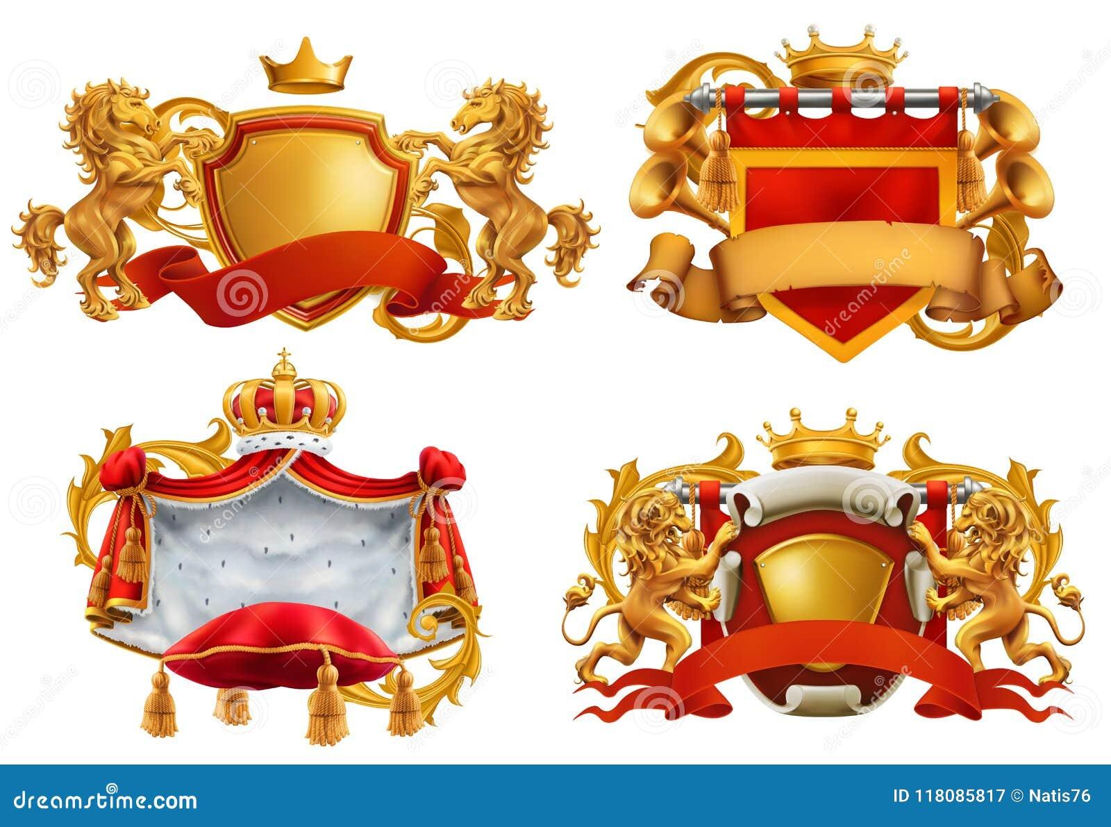 Revestimento de braços real Rei e reino Grupo do emblema do vetor