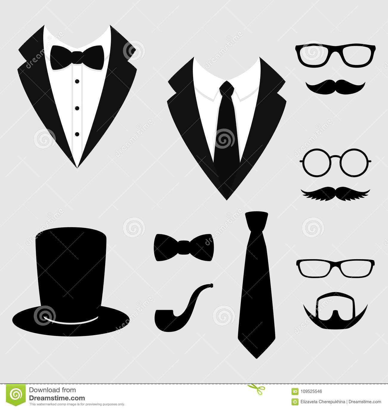 Revestimentos do ` s dos homens Smoking com bigodes, vidros, barba, tubulação e chapéu alto Ternos de Weddind com laço e com grav