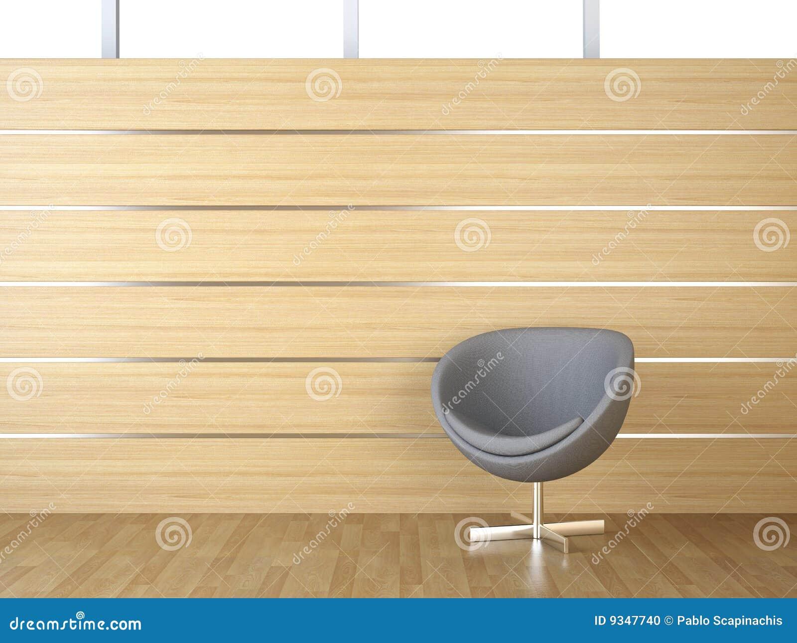 Revestimiento de madera y silla del dise o interior foto for Revestimiento interior madera