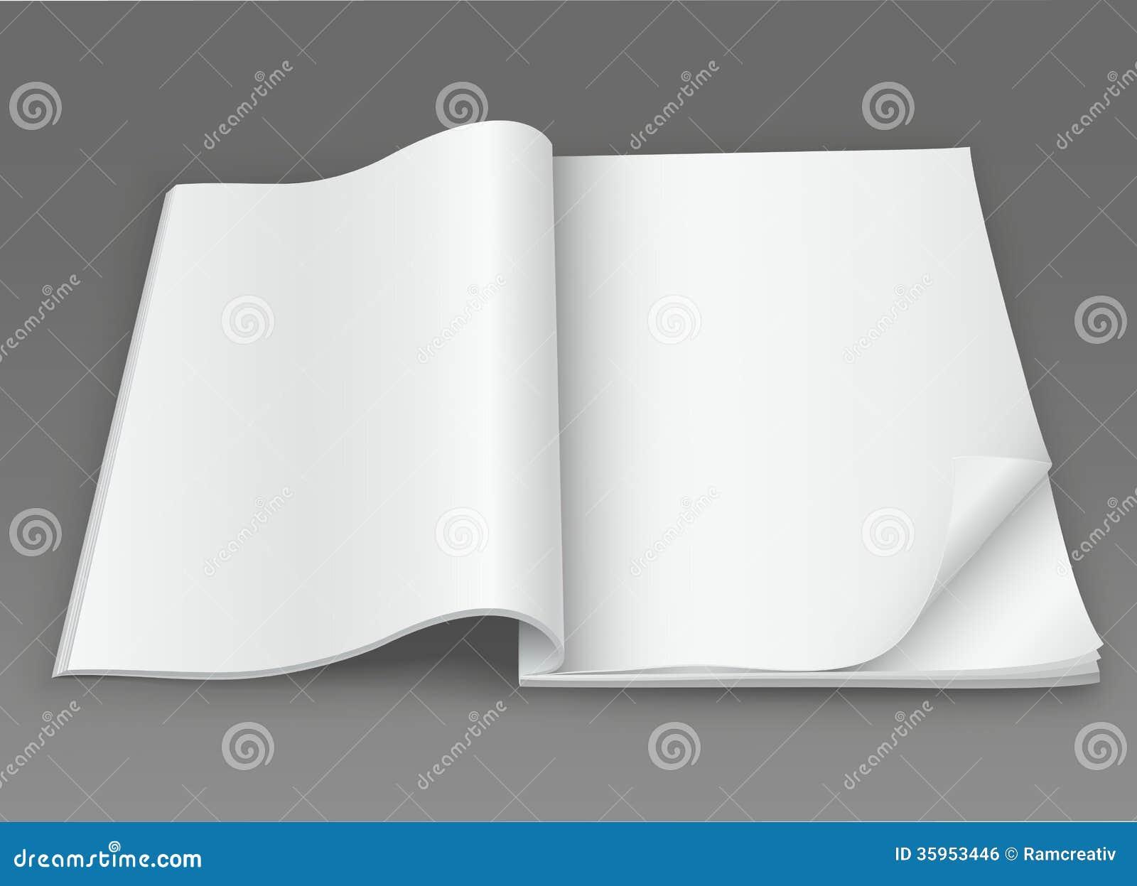 Revista abierta del espacio en blanco blanco en un fondo oscuro
