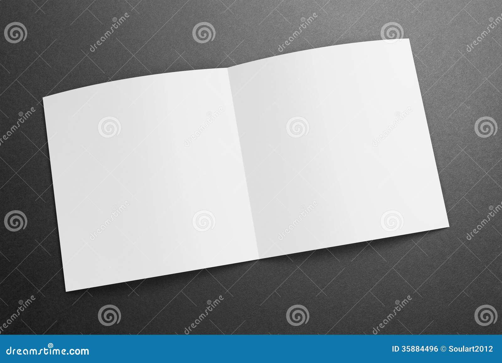 Revista/folleto cuadrados en blanco sobre el fondo del grunge