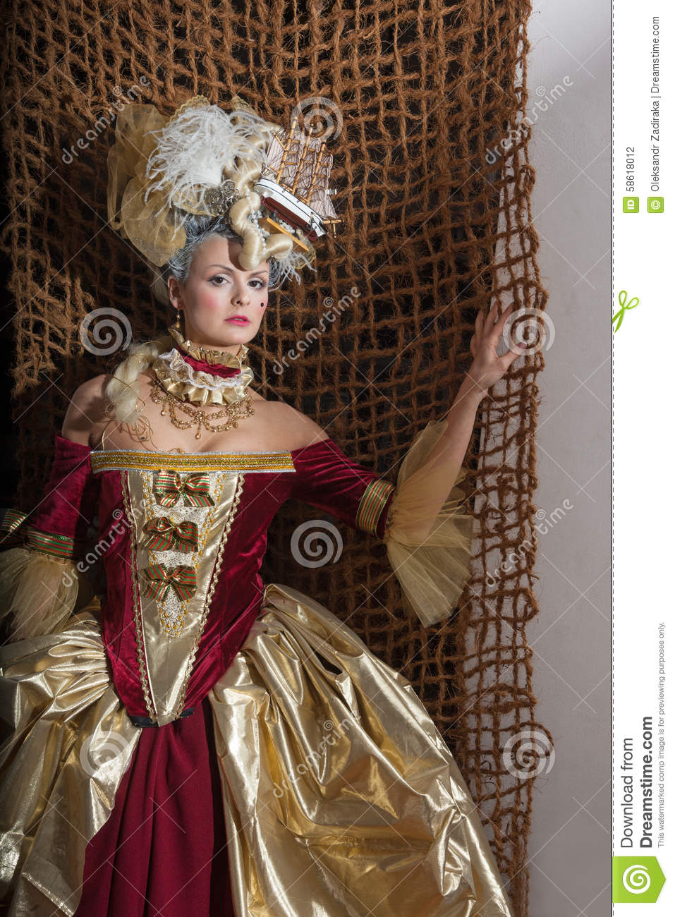 Revival Women Stock Photo Image Of Headdress Clothing 58618012