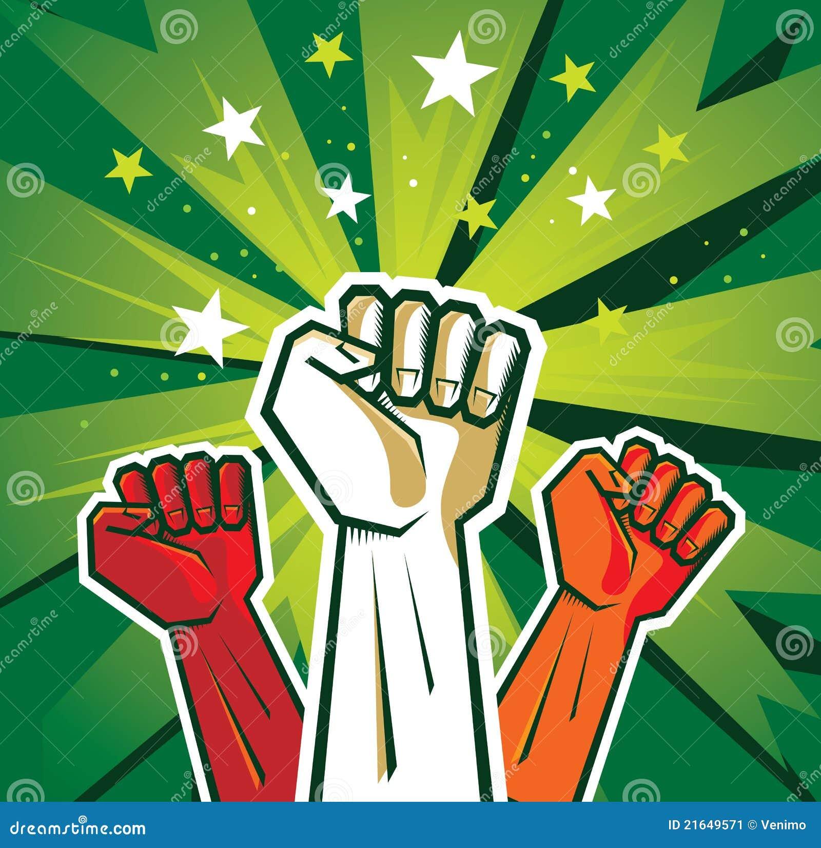 Revolution Hand Poster Stock Vector. Illustration Of Power