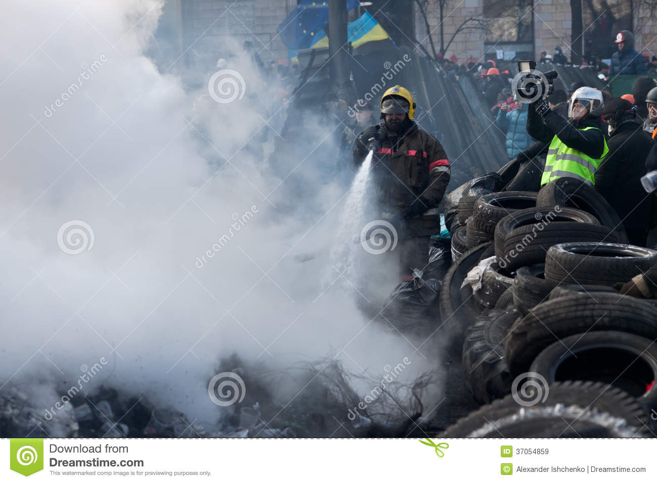 KIEV  UKRAINE - 23 JANUARY 2014  Firefighters extinguish a fire at the    Ukraine Revolution Fire