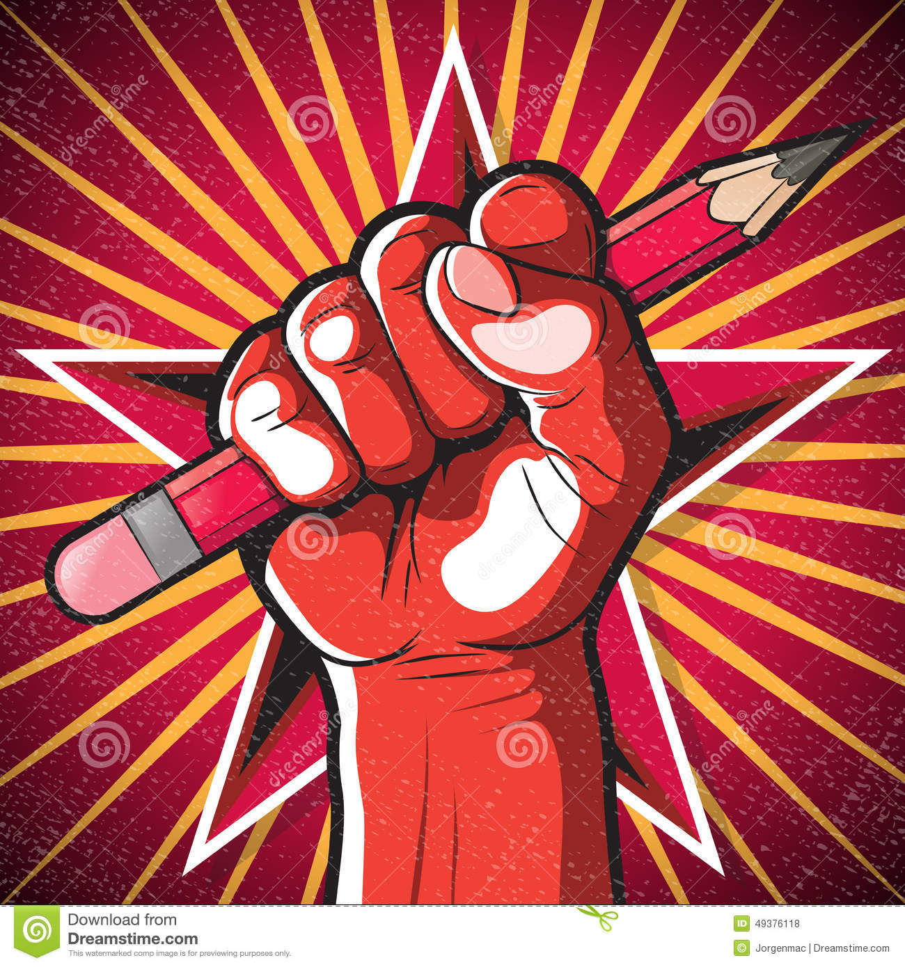 Revolutionary Punching Fist And Pencil Sign Stock Vector