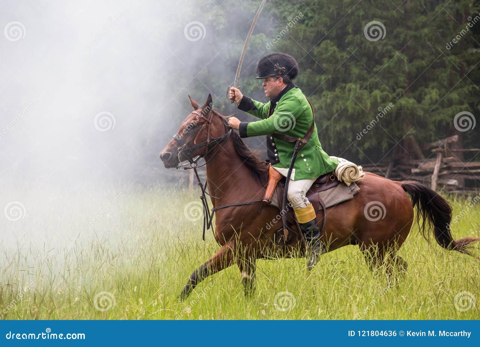 Revolutionary War Reenactor On Horseback Editorial Photo