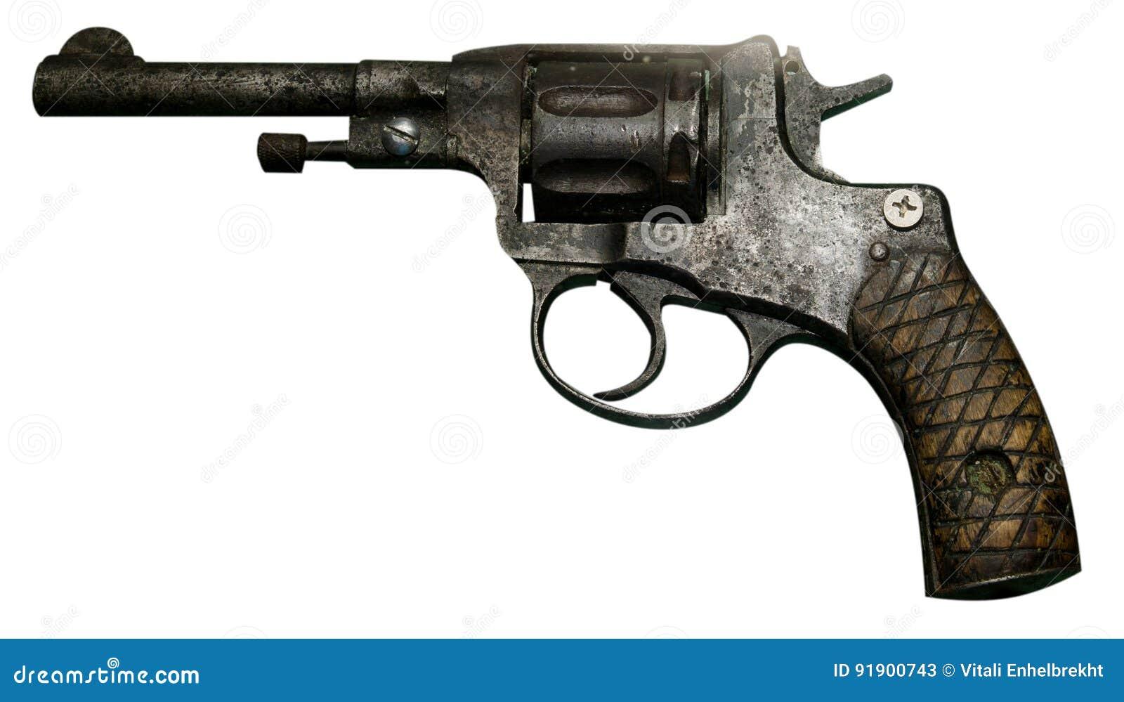 Revolver de pistolet d isolement sur le fond blanc Le pistolet de vintage rev