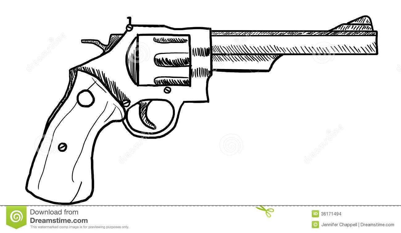One Line Art Gun : Revolver stock illustration of firearm