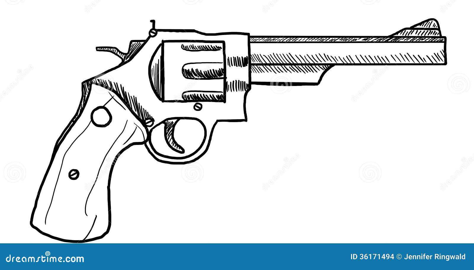 Рисунок револьвера карандашом
