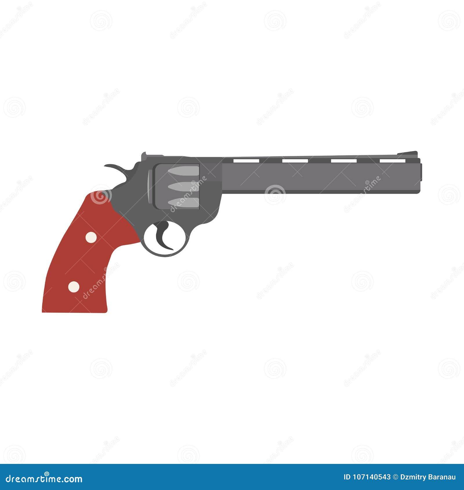 revolver gun vector pistol vintage illustration handgun weapon icon