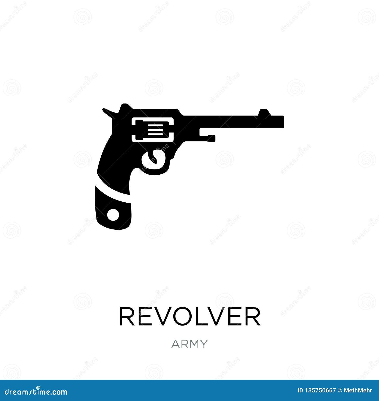 Revolverpictogram in in ontwerpstijl revolverpictogram op witte achtergrond wordt geïsoleerd die eenvoudige en moderne vlakte van