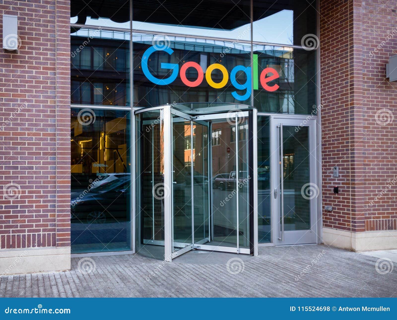 Revolving Door Entrance To Google Corporate Campus In Chicago.