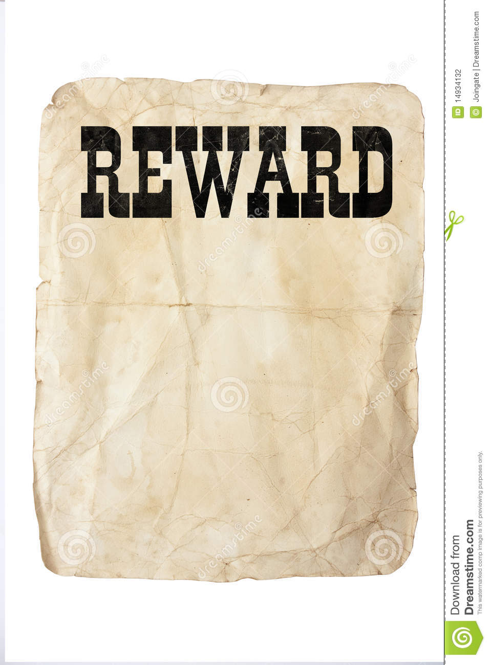 reward poster stock photography