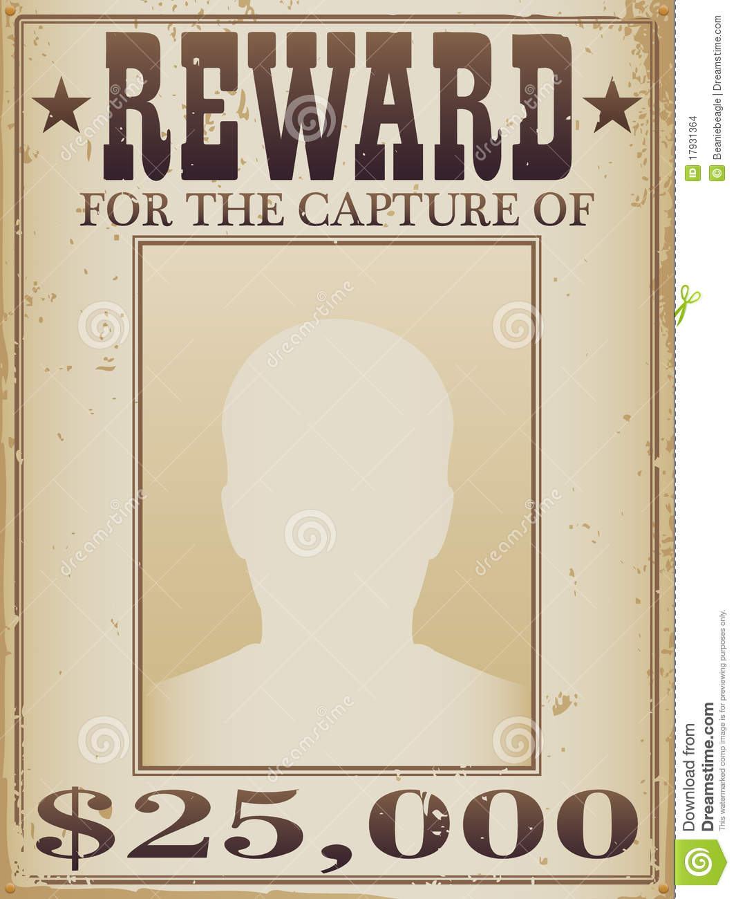 Reward Sign Template  Missing Reward Poster Template