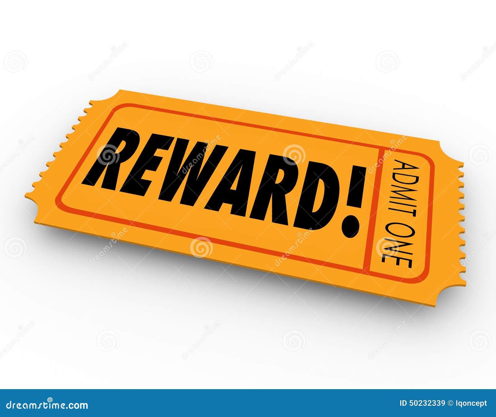 Reward Raffle Ticket Claim Prize Award Motivation Encouragement Stock ...