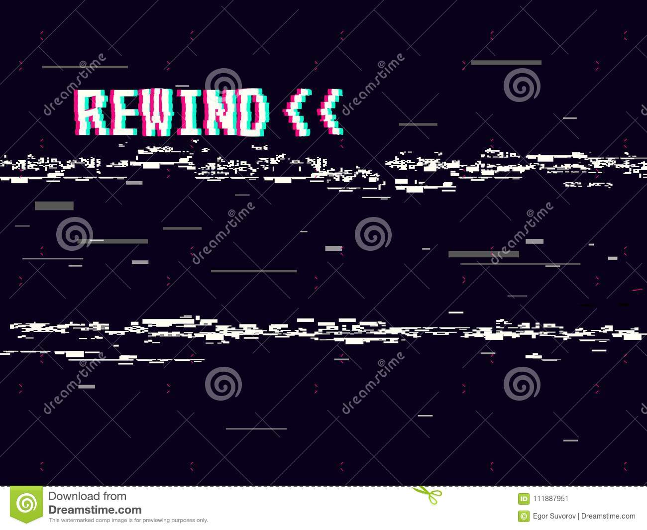 Rewind glitch background. Retro VHS template for design. Glitched lines noise. Pixel art 8 bit style. Vector