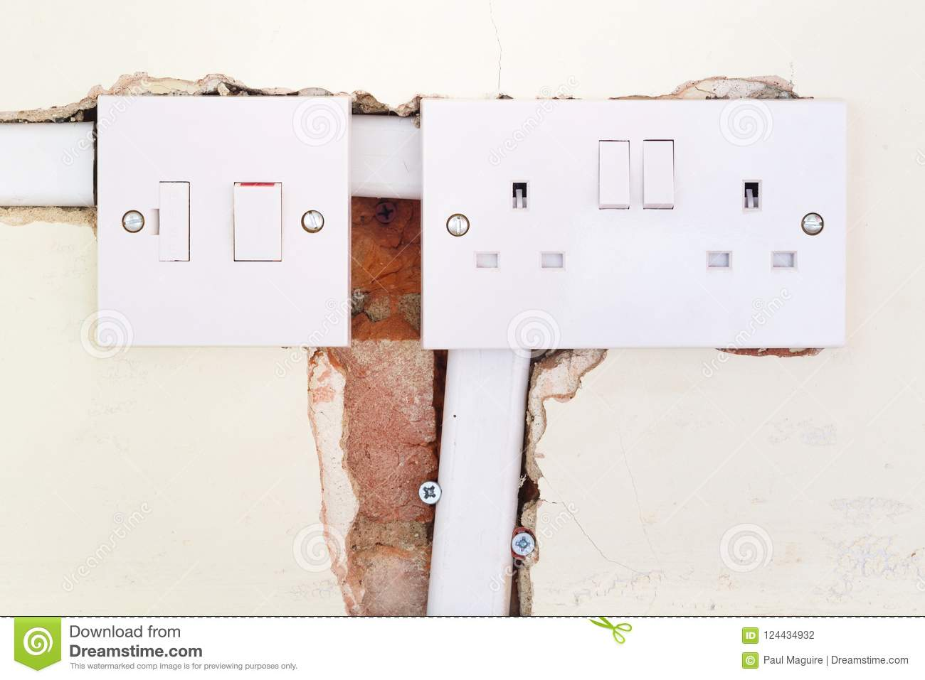 Incredible Rewiring British Domestic Socket Stock Photo Image Of Property Wiring Cloud Hisonuggs Outletorg