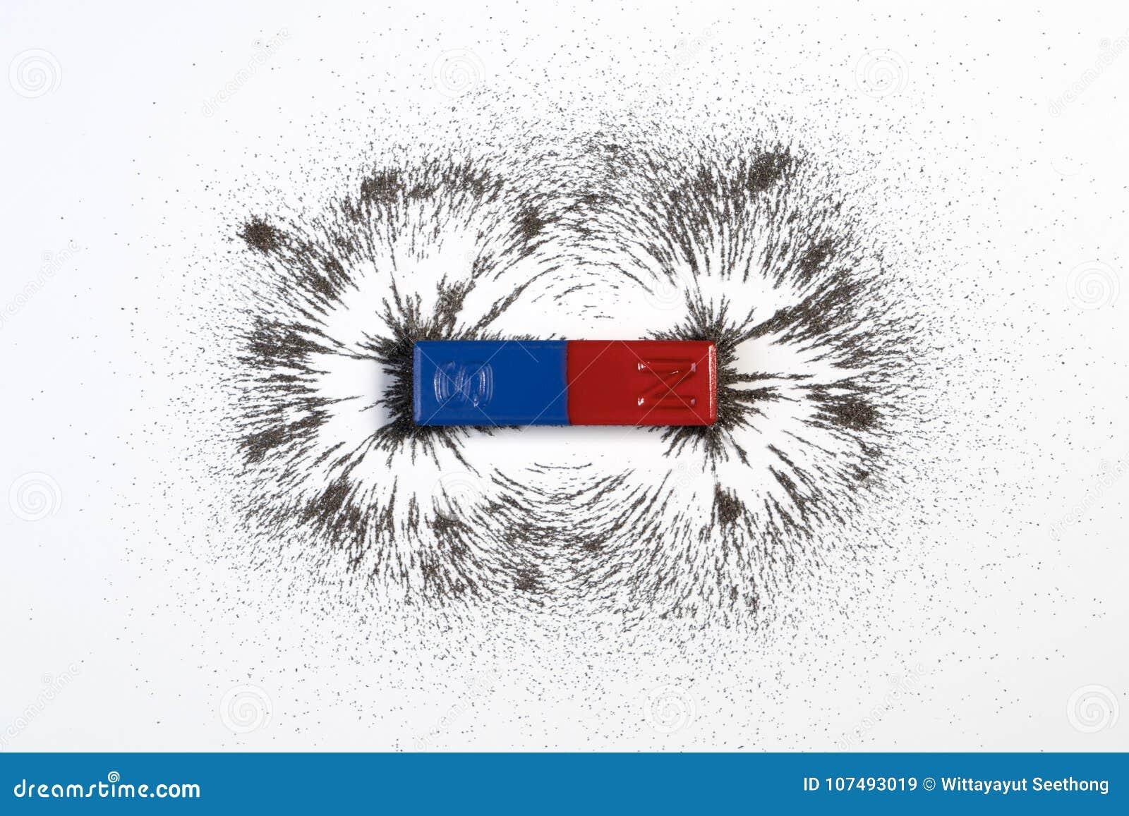 Rewolucjonistka, błękitny prętowy magnes i physics magnesowi z żelazo proszka mag