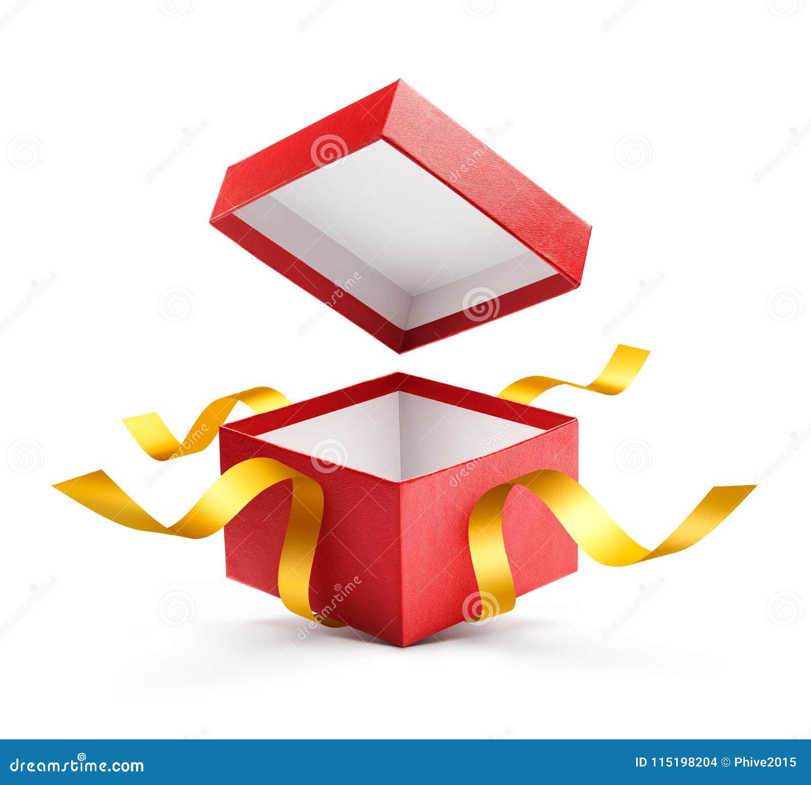 Rewolucjonistka prezenta otwarty pudełko z złocistym faborkiem